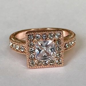 Rose Gold Halo Art Deco Cocktail Ring Size 7 8 9
